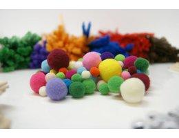 Pompons 30 mm 100 stuks gekleurd