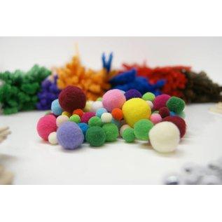 Pompons 10 mm 200 stuks gekleurd
