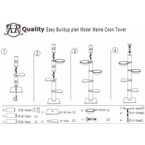 RHRQuality Arbre à chat Maine Coon Tower PLUS Light Grey