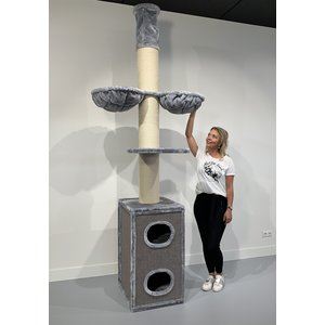 RHRQuality Rascador Cat Tower Box Light Grey