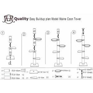 RHRQuality Rascador Maine Coon Tower Plus Blackline Light Grey
