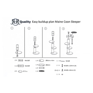 RHRQuality Rascador para gato Maine Coon Sleeper Plus Cream