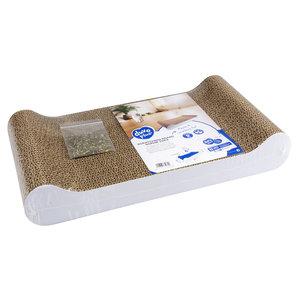 Duvo+ Planche à gratter en carton Sophie Sofa Blanc (Avec herbe à chat)