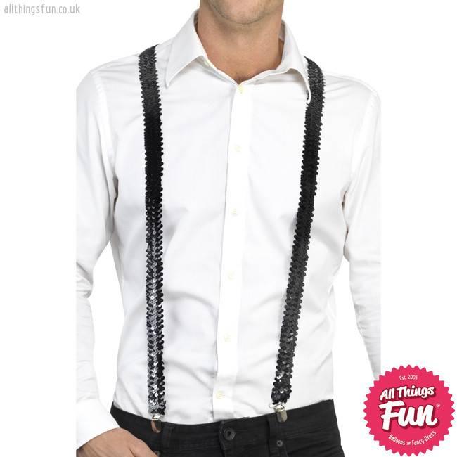 Smiffys Black Sequin Braces