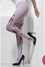 Smiffys White Blood Splattered Opaque Tights