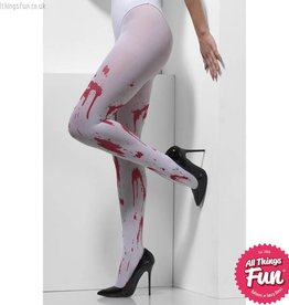 Smiffys *SP* White Blood Splattered Opaque Tights