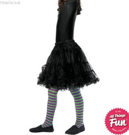 Children/'s Witch Black and White Striped Tights Age 6-12 Years