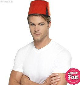 Smiffys Red Fez Hat with Black Tassle