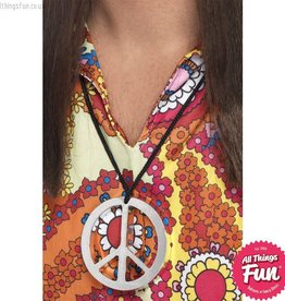 Smiffys Silver Peace Sign Medallion