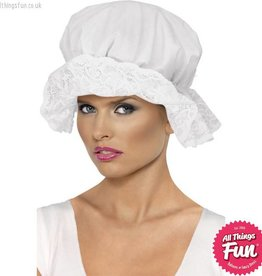 Smiffys White Mop Cap with Lace Trim