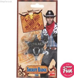 Smiffys Sheriff Silver Metal Star Badge