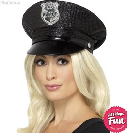 Smiffys Fever Sequin Police Hat