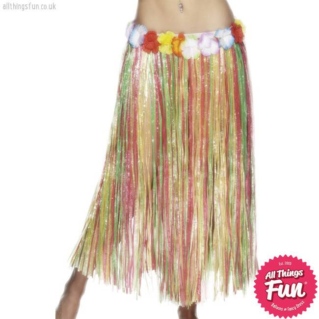 Smiffys Hawaiian Multi Coloured Long Hula Skirt