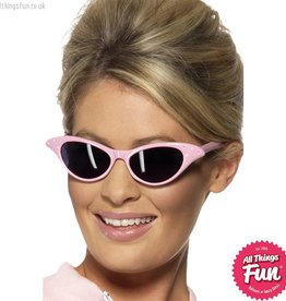 Smiffys Pink Flyaway Rock & Roll Sunglasses