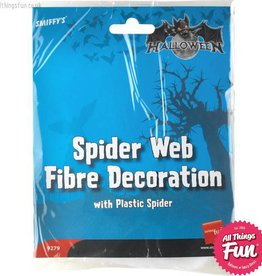 Smiffys Spider Web Decoration with Plastic Spider