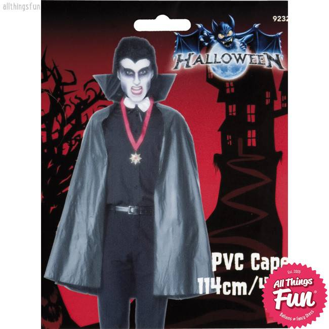 Smiffys Black PVC Vampire Cape with Stand Up Collar