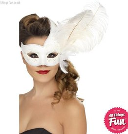 Smiffys Ornate White Columbina Eyemask with Feather