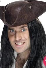 Smiffys Brown Broken Leather Pirate Tricorn Hat