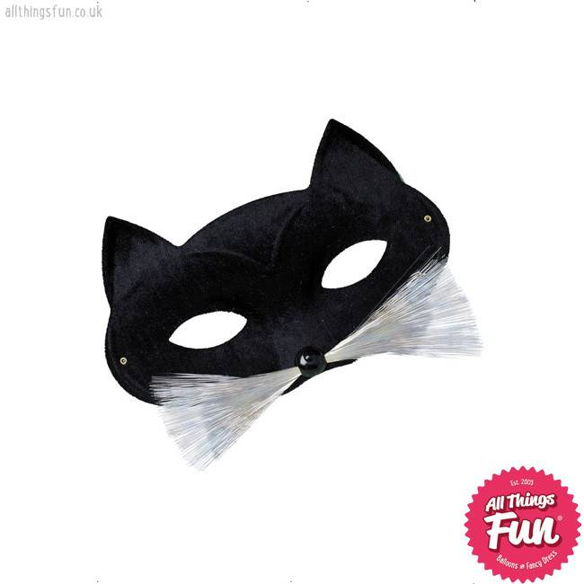 Smiffys Black Cat Eyemask with Nose & Whiskers