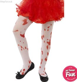 Smiffys Childs White Tights with Blood Stain Age 6-12