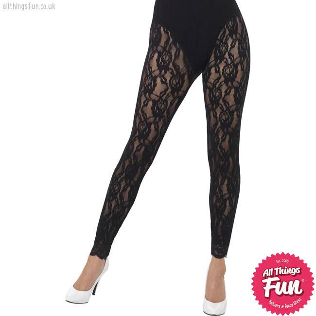 Smiffys 80s Black Lace Leggings