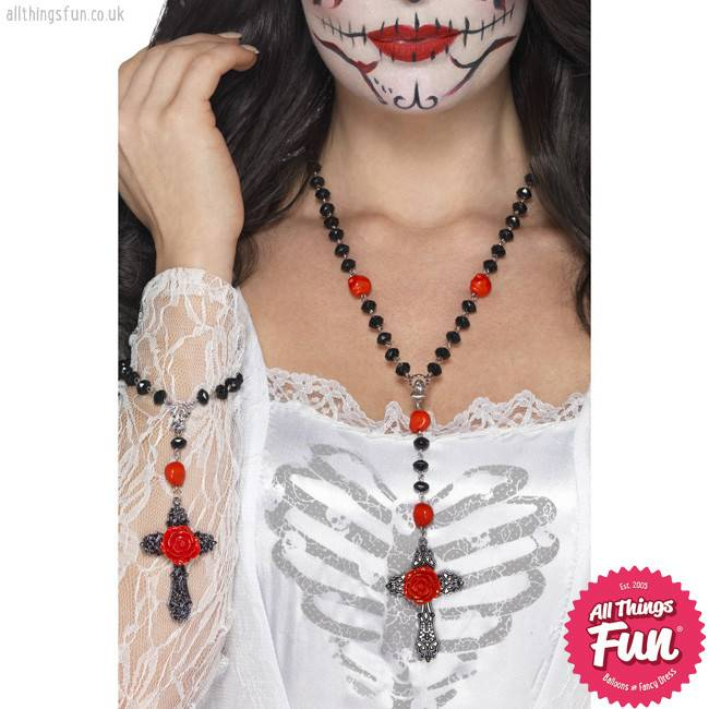 Smiffys *SP* Day of the Dead Rosary Bead Set with Necklace & Bracelet