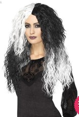 Smiffys Black & White Glam Witch Wig