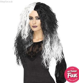 Smiffys Black & White Glam Witch Wig