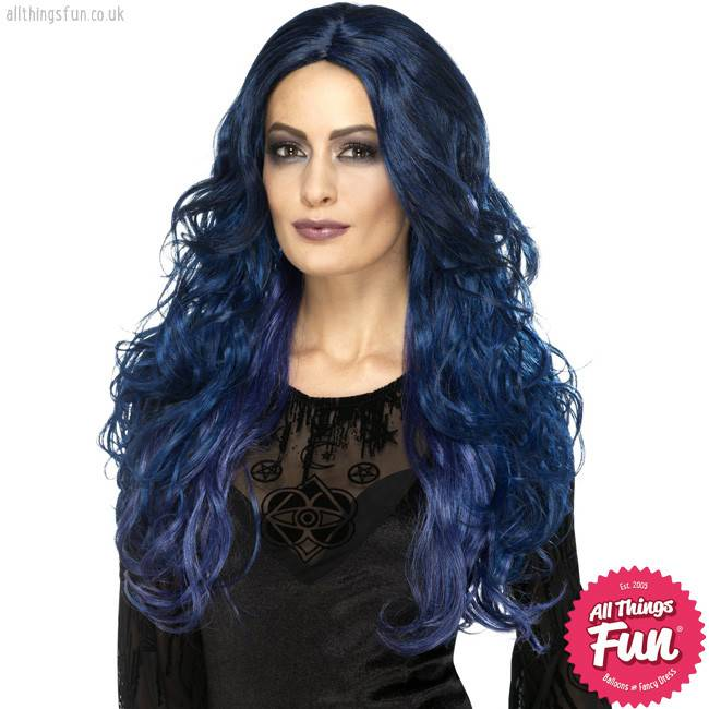Smiffys Occult Blue & Black Witch Siren Wig