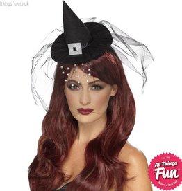 Smiffys Gothic Mini Black Witch Hat with Diamante Veil