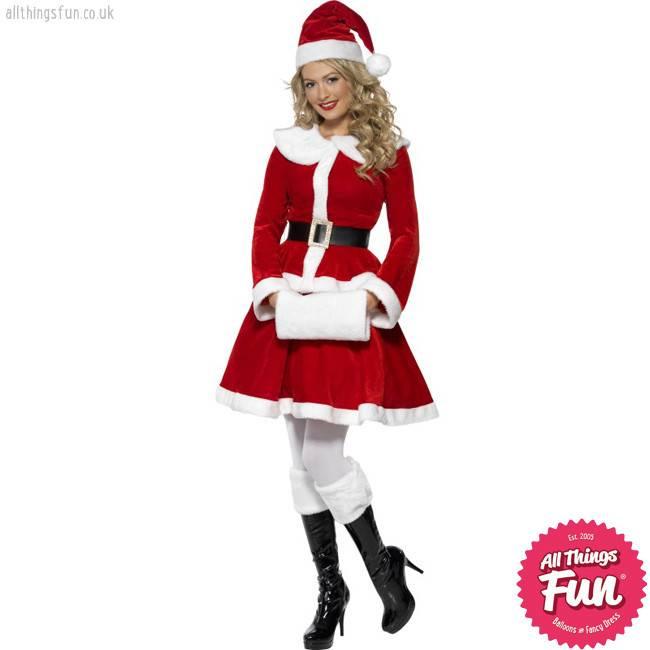 Smiffys *Star Buy* Miss Santa Costume with Muff