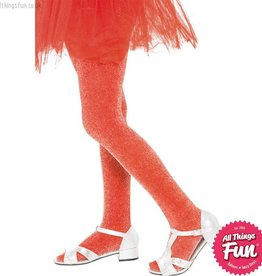 Smiffys Children's Red Tights With Silver Sparkle