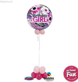 All Things Fun Birthday Pink Zebra Bubble Design