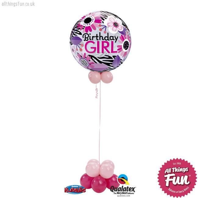 Birthday Pink Zebra Bubble Design