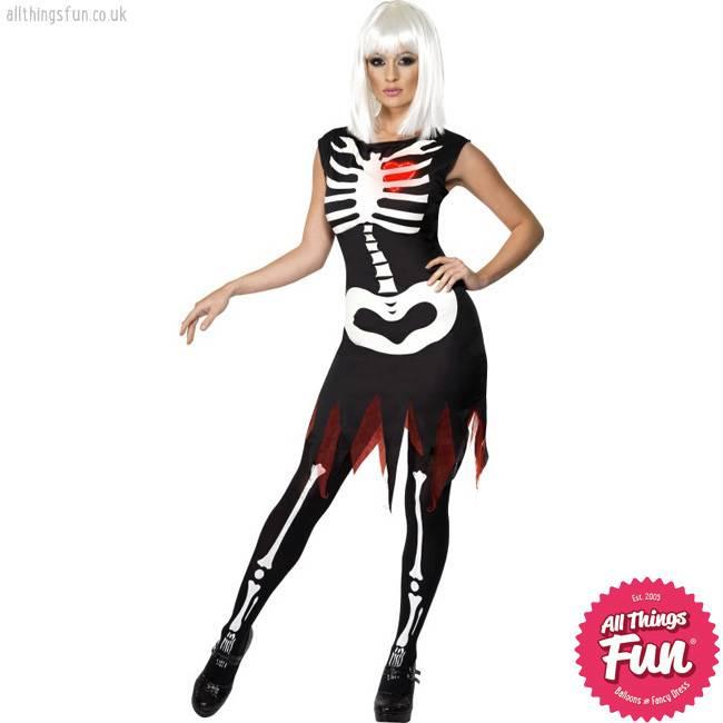 Smiffys Bright Bones Glow in the Dark Costume