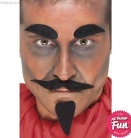 Smiffys *DISC* Black Devil Facial Hair Set