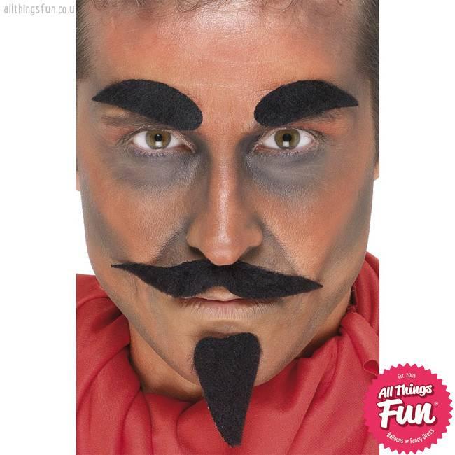 Smiffys *DISC* Black Devil Facial Hair Set
