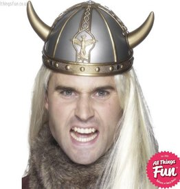 Smiffys Silver Viking Helmet with Horns