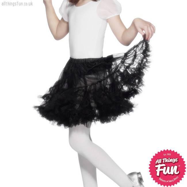 Smiffys Girls Black Layered Petticoat