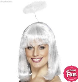 Smiffys White Marabou Angel Halo on a Headband