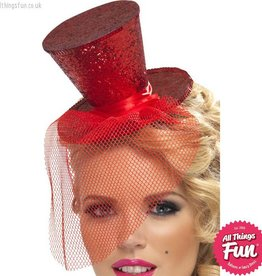 Smiffys Fever Red Glitter Mini Top Hat on a Headband