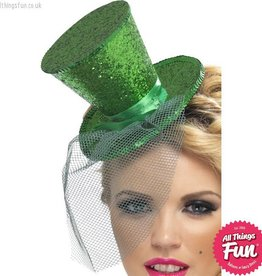 Smiffys Fever Green Glitter Mini Top Hat on a Headband