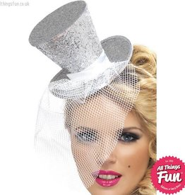 Smiffys *SP* Fever Silver Glitter Mini Top Hat on a Headband