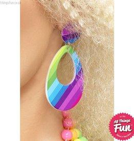 Smiffys Neon Teardrop Earrings