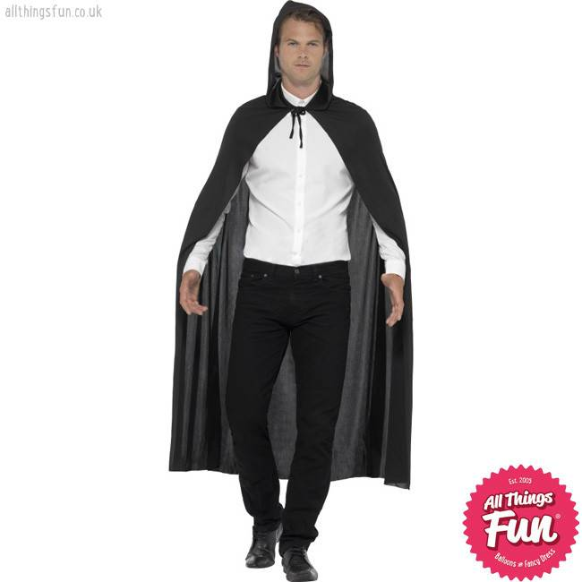 Smiffys Black Hooded Vampire Cape - Unisex