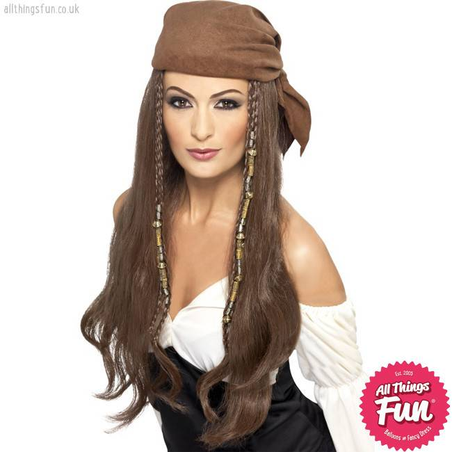 Smiffys Brown Pirate Wig with Bandana, Beads & Charms