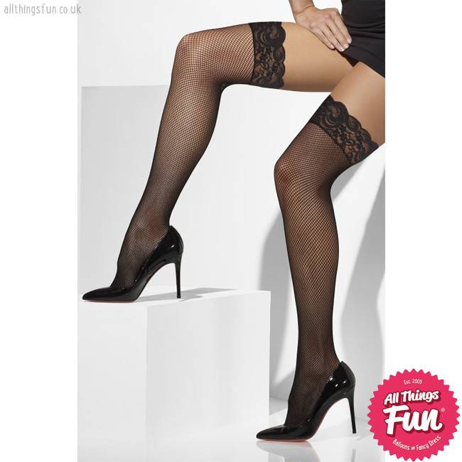 Smiffys Black Fishnet Hold-Ups with Lace Tops