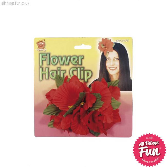 Smiffys Red Hawaiian Flower Hair Clip