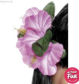 Smiffys Purple Hawaiian Flower Hair Clip