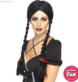 Smiffys *DISC* Gothic Black Schoolgirl Wig